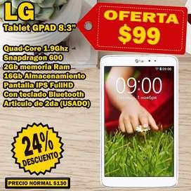 Tablet LG GPAD 8.3 pulgadas, 2GB RAM, 16GB almacenamiento, Pantalla FullHD IPS + Protector con teclado Bluetooth