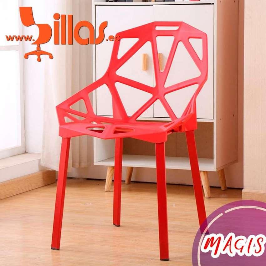 silla plastica apilable roja 0