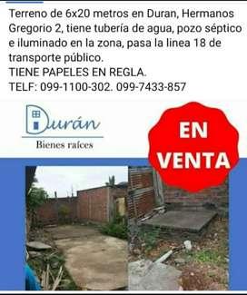 Terreno GRANDE DE OPORTUNIDAD 6X20 en venta en Duran Hermanos Gregorio