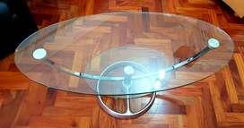 Mesa Ratona Ovalada Giratoria De Vidrio Templado, Importada