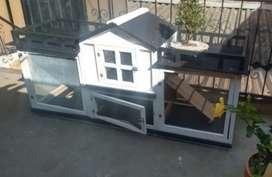 Casa jaula en madera para conejos
