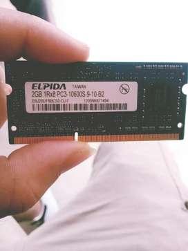 Memoria ram de portatil 2gb ddr3 1060mhz