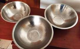 Set X 3 Bowls en Acero Inoxidable.