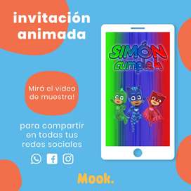 Pj Masks Héroes en Pijama Invitación Animada en Video