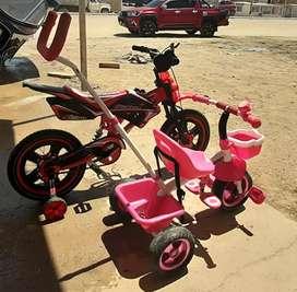 Bicicleta tipo moto y Triciclo