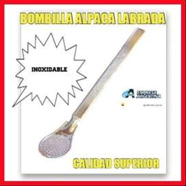 "BOMBILLA ARGENTINA DE "" ALPACA"" LABRADA "" INOXIDABLE"" MODELO CUCHARITA !!!"