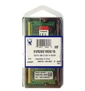 MEMORIA KINGSTON KVR26S19D8/16, 16GB, DDR4, SO-DIMM, 2666 MHZ, CL19, NON-ECC, 1.2V.