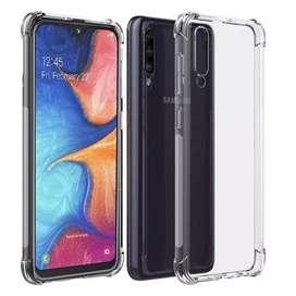 Estuche Silicona + Vidrio Completo 11D Samsung A20 | A20s