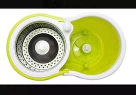 Balde trapeador centrifugo Escurridor acero C/ruedas,2 mopas,dispenser