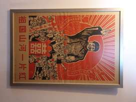 Arte - Interesante afiche Chino antiguo de la Revoluccion cultural