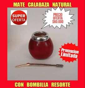SUPER OFERTA! MATE ARGENTINO CALABAZA NATURAL GRANDE CON VIROLA ALUMINIO y BOMBILLA ACERO RESORTE CON PIEDRA!