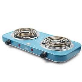 Estufa eléctrica 2 puestos con diseño compacto y materiales livianos