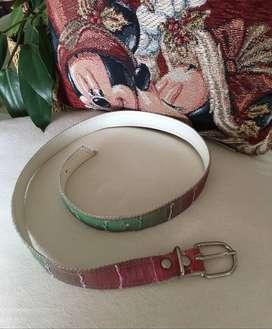 Cinturón Degradé de Mujer / Niña en Cuero Blanco Forrado de 2 cm
