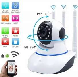 Camara robotica wifi inalambrica 3 antenas vision nocturna para vigilancia 360 grados monitor de bebe niños micro sd