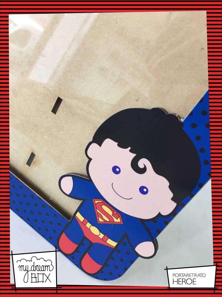Portaretrato de 13x18 cm Souvenir Evento Infantil Heroes Superman Hombre Araña Cumpleaños 0