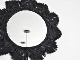 Espejo macramé negro