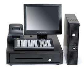 pc, impresora térmica, cajón monedero, lector de códigos de barras y software de facturación pos