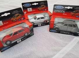 Lote X 3 Autos a Escala 1:38 - Peugeot 504, Citroen 2cv - Welly