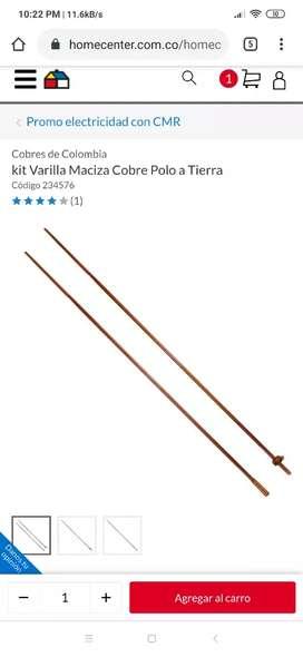 Varilla de cobre para polo a tierra