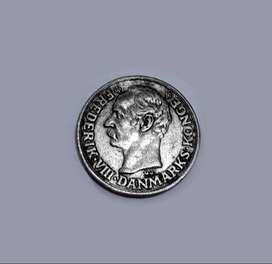 Escasa moneda de Dinamarca, 1907, 10 ore, plata 400, XF