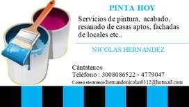 Servicios de pintura,  acabado,  resanado de casas aptos, fachadas de locales etc..