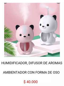 Humidificador difusor de olores esencias aromas ambientador aromaterapia color madera tipo oso osito humificador