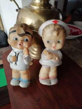 Muñecos bartoplas antiguos enfermera y medico