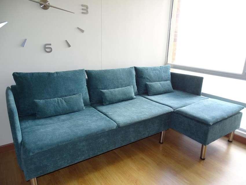 Sofa en L Color Turquesa 0