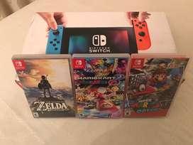 Nintendo Switch 10/10 + 3 juegos
