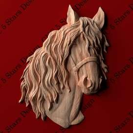 Cuadro tallado en madera alto relieve- Caballo