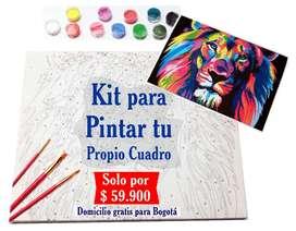 Kit completo para pintar por numeros, puedes pintar tu propio cuadro sí tener experiencia en pintura, exelente regalo