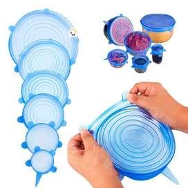 Tapas de Silicona X6 reutilizables y adaptables color azul