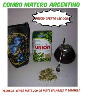 OFERTA! SET MATERO ARGENTINO! MATE CALABAZA c\ BOMBILLA c \ YERBERA de CUERO y YERBA MATE 250 GRAMOS!