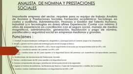 ANALISTA DE NOMINA  Y PRESTACIONES  SOCIALES