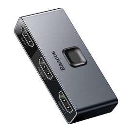 Interruptor Conmutador HDMI 4k 60Hz 2x1 y 1x2 Bidireccional en Material Aluminio+ABS Marca Baseus
