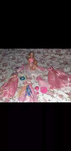 Muñeca Barbie + bebé y accesorios