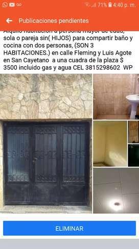 Alquilo  habitacion para compartir baño y cocina  con 2 personas  en San Cayetano a 1 cuadra  de la plaza c