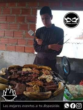 Servicio de parrilleros y parrilladas a domicilio platos de comida parrillas meseros