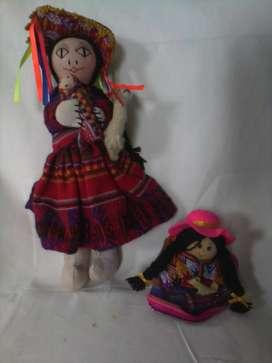 Muñecas de tela mujer tipica peruana