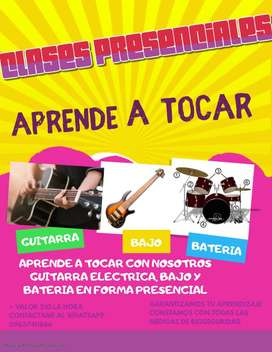 CLASES DE GUITARRA, BAJO Y BATERIA PRESENCIALES