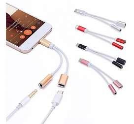 Cable Audio 2 En 1 Tipo C Aux 3.5mm Adaptador Audio