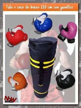 Tula saco de boxeo con GUANTES y soporte para techo