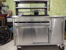 Carro para comidas rápidas en acero inoxidable calibre 304 para cilindro de 40 libras plancha y freidora.