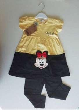 Conjunto Nenas Vestido Con Capri Set 2ps importado nuevo