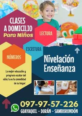 A domicilio, clases para niños, inicial, básica. Lectura, escritura
