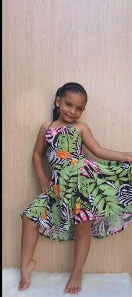 Vestidos para niñas en tela acetato - Talla 2 - 4 - 6