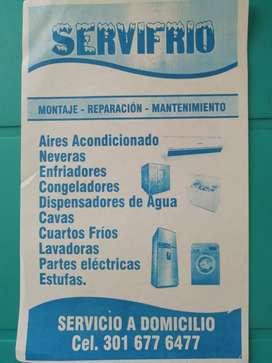 Reparaciones técnicas en neveras lavadoras Aires acondicionado estufas congeladores cuartos frío