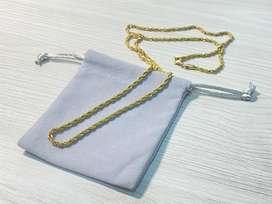 Cadena militar baño en oro 18k acero quirurgico tejido trenzado