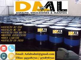 Venta de Asfalto RC-250 ,  mezcla asfaltica en frio y caliente , servicio de imprimacion asfaltica DML ASFALTOS