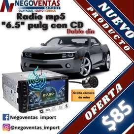 """Radio MP5 de 6,5"""" con CD DOBLE DIN"""